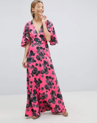 Asos Design Bright Floral Maxi Dress with Ruffle Sleeves