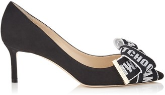 Jimmy Choo TEGAN 60 Black Suede Pointy Toe Pumps with Logo Tape Bow Detailing