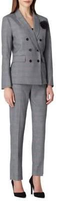 Tahari Arthur S. Levine Two-Piece Floral-Pin Plaid Pant Suit