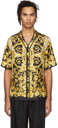 Versace Black and Yellow Silk Hibiscus Shirt