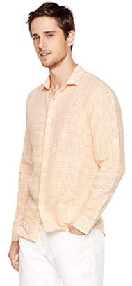 Isle Bay Linens Men's Slim-Fit 100% Linen Long-Sleeve Check Woven Shirt Orange