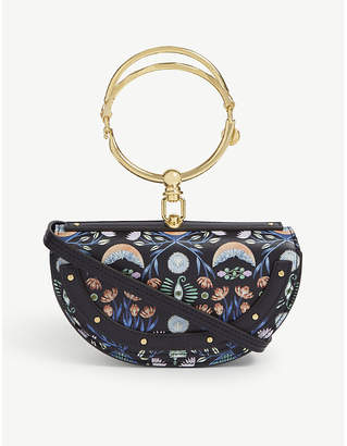 Chloé Full Blue Floral Nile Half Moon Leather Clutch Bag