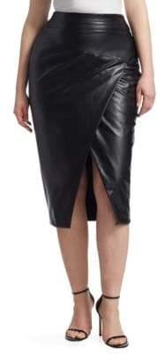 Marina Rinaldi Ashley Graham x Ashley Graham x Women's Faux-Leather Pencil Skirt - Black - Size 12W