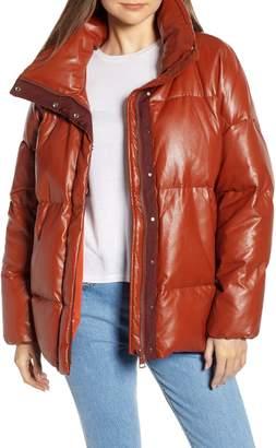Sosken Glory Faux Leather Puffer Jacket