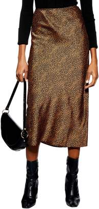 Topshop Animal Spot Midi Skirt