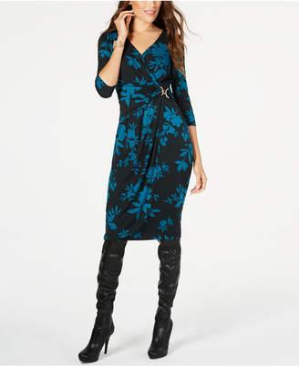 Thalia Sodi Floral-Print Faux-Wrap Dress