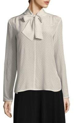 Max Mara Women's Silk Polka Dot Tie-Neck Blouse - Ivory - Size 8