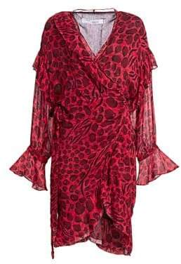 IRO Women's Link Leopard Print Wrap Dress - Red - Size 40 (6)