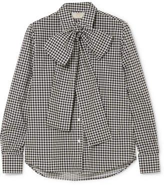Sara Battaglia Pussy-bow Gingham Cotton-poplin Shirt - Gray