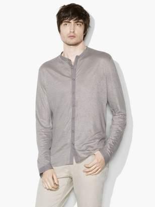 John Varvatos Linen Band-Collar Shirt