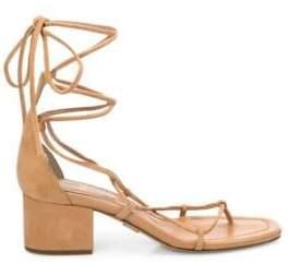 Michael Kors Women's Ayers Suede Lace-Up Block Heel Sandals - Denim - Size 37 (7)