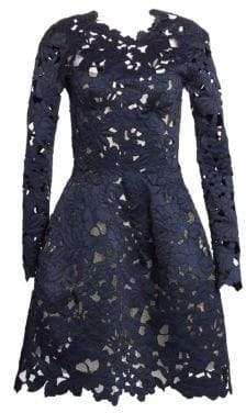 Oscar de la Renta Women's Lace A-Line Cocktail Dress - Navy - Size 6