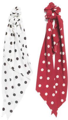 2 Pack Polka Dot Ribbon Scrunchies