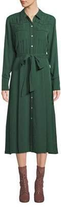 Veronica Beard Spur Silk Jacquard Long-Sleeve Shirtdress