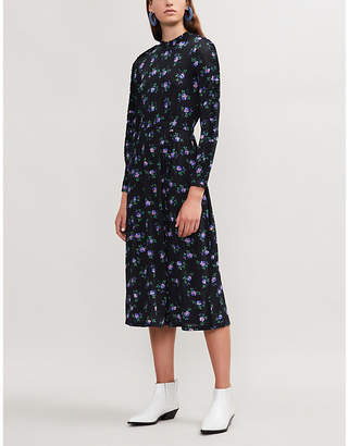 Sandro Floral-print midi tea dress