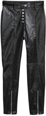 H&M Coated Slim-fit Pants - Black