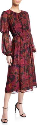 Maggy London Paisley Keyhole-Tie Midi Dress