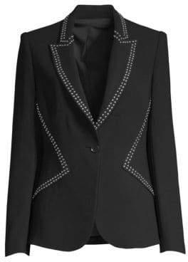 Elie Tahari Women's Allegria Crepe Studded Blazer - Black - Size 12