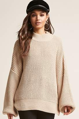 Forever 21 Waffle Knit Balloon-Sleeve Sweater