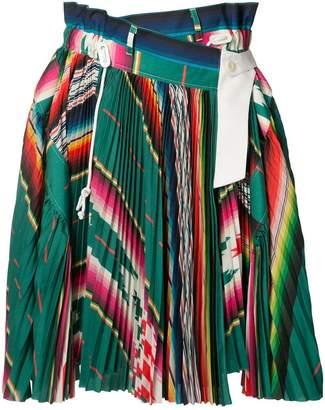 Sacai striped pleated skirt