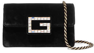 Gucci Broadway Crystal-embellished Velvet Shoulder Bag - Black
