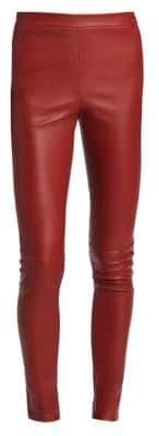 Theory Women's Adbelle Leather Leggings - Black - Size 0
