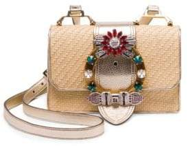 Miu Miu Women's Embellished Straw and Leather Crossbody Bag - Natural