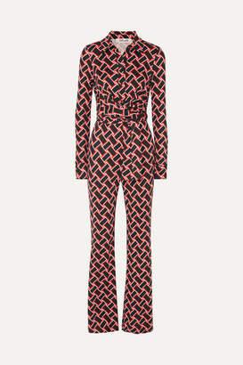 Diane von Furstenberg Alexis Printed Silk-jersey Jumpsuit - Black