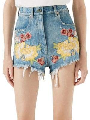 Gucci Women's Embroidered Raw Edge Denim Shorts - Light Blue - Size 27 (4)