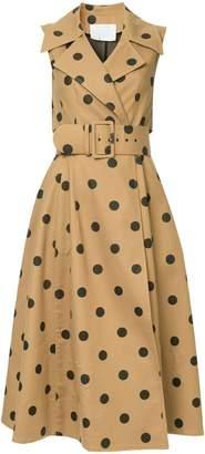 Oscar de la Renta sleeveless polka dot wrap dress