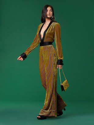 Diane von Furstenberg Long-Sleeve Velvet Sash Jumpsuit