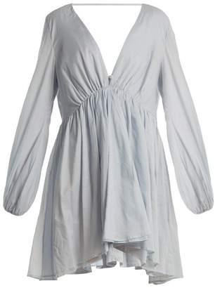 Kalita - Aphrodite Deep V Neck Cotton Voile Dress - Womens - Light Blue