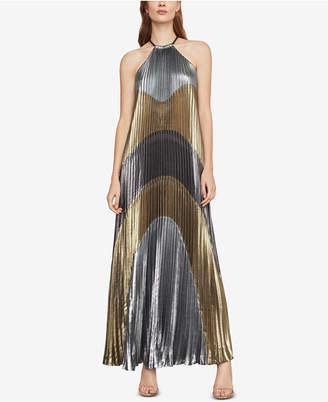 BCBGMAXAZRIA Metallic Colorblocked Pleated Gown