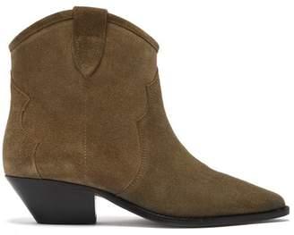 Isabel Marant Dewina Western Suede Ankle Boots - Womens - Khaki