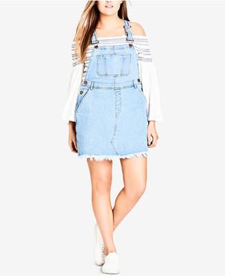 City Chic Trendy Plus Size Denim Bib Dress