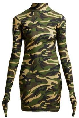 Vetements Camouflage Print Glove Dress - Womens - Khaki