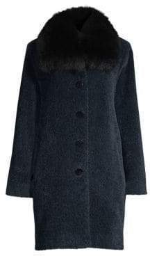 Sofia Cashmere Women's Fox Fur-Trim Wool& Alpaca Boucle-Blend Coat - Navy Black - Size 6