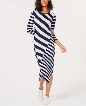 Bar III Striped Asymmetrical Sweater Dress