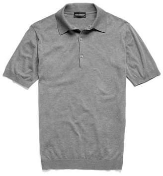 John Smedley Sweaters Sea Island Cotton Polo in Silver