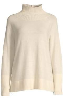 Lafayette 148 New York Women's Funnel-Neck Sweater - Cloud - Size Small