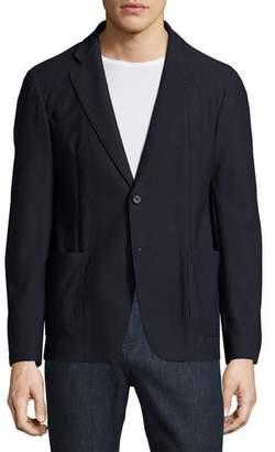 Armani Collezioni Textured Mesh Two-Button Blazer, Navy Blue
