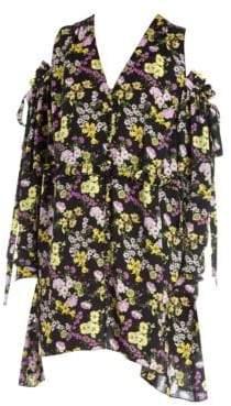 Magda Butrym Women's Trento Botanical Print Cold Shoulder Dress - Black - Size 40 (8)