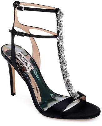 Badgley Mischka Collection Hollow T-Strap Embellished Sandal