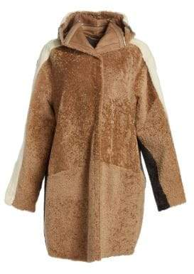 The Fur Salon The Fur Salon Women's Oversized Shearling& Mink Fur Coat - Camel/Grey - Size Medium