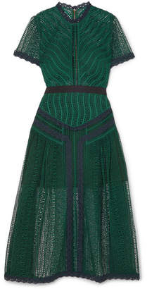 Self-Portrait Guipure Lace Midi Dress - Emerald
