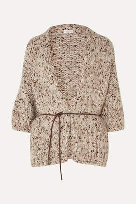 Brunello Cucinelli Belted Sequined Chunky-knit Cardigan - Beige