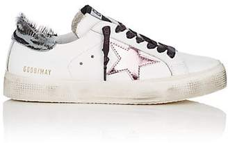 Golden Goose Women's May Leather & Calf-Hair Sneakers - White
