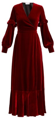 Raquel Diniz - Aurora Silk Velvet Wrap Dress - Womens - Dark Red