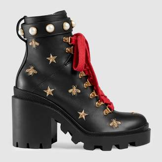 Gucci Leather embroidered ankle boot