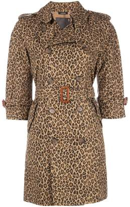 R 13 leopard trench coat
